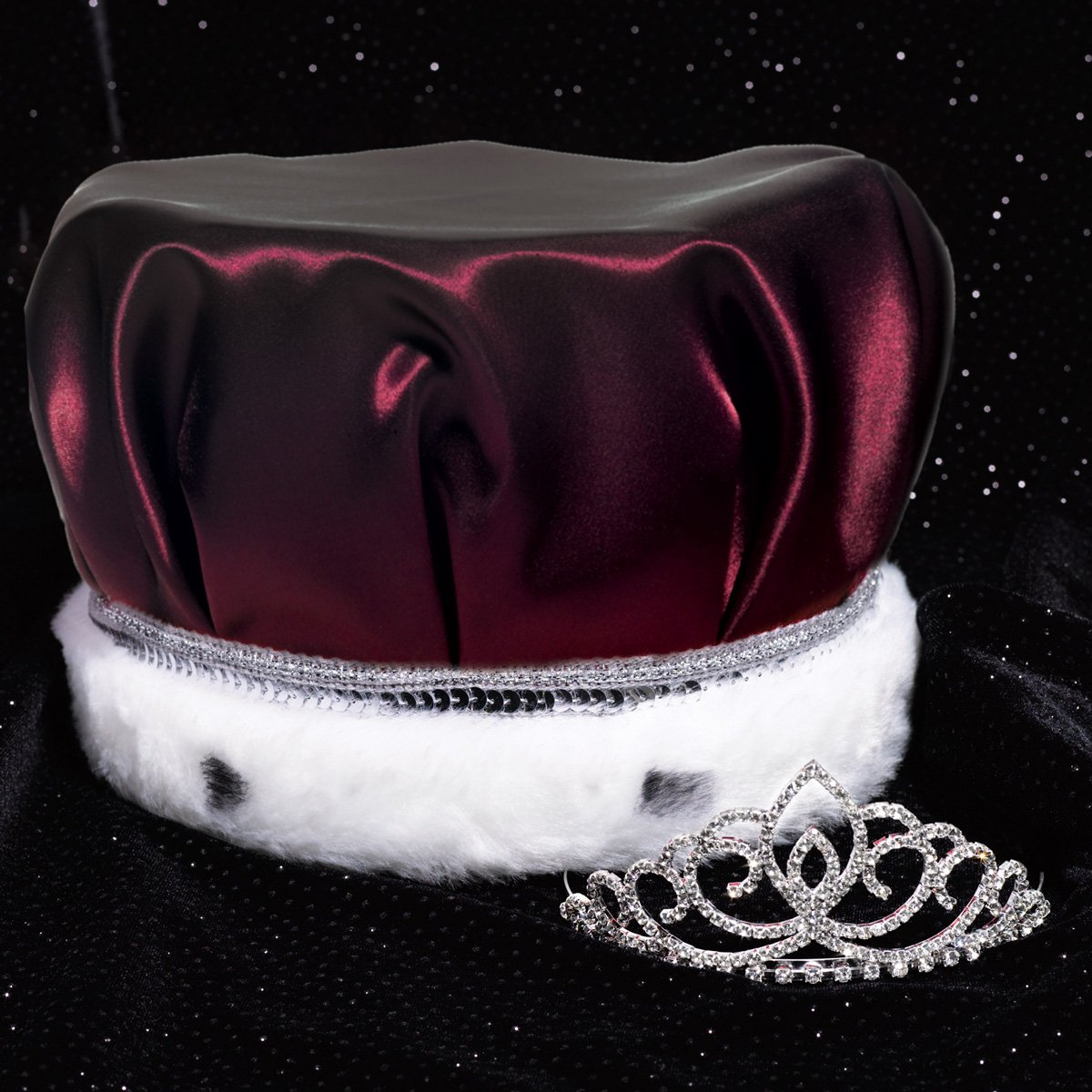 Coronation Set, 2 1/4 inch High Sharona Tiara and Burgundy Satin Crown with Silver Sequins, White Fur