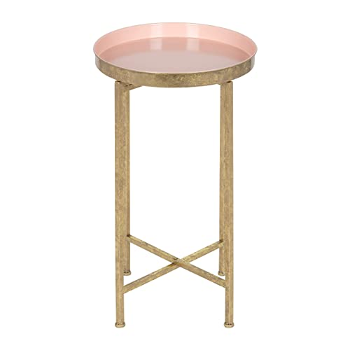 Kate and Laurel 212374 Celia Round Metal Foldable Tray Accent Table, 14x14x25.75, Gold Pink