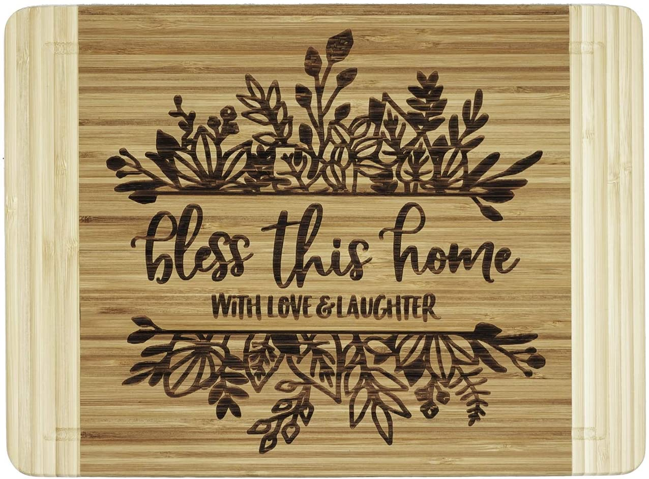Engraved Cutting Board,New Home Owner Gifts, Housewarming Gifts - Bless This Home, With Love & Laughter
