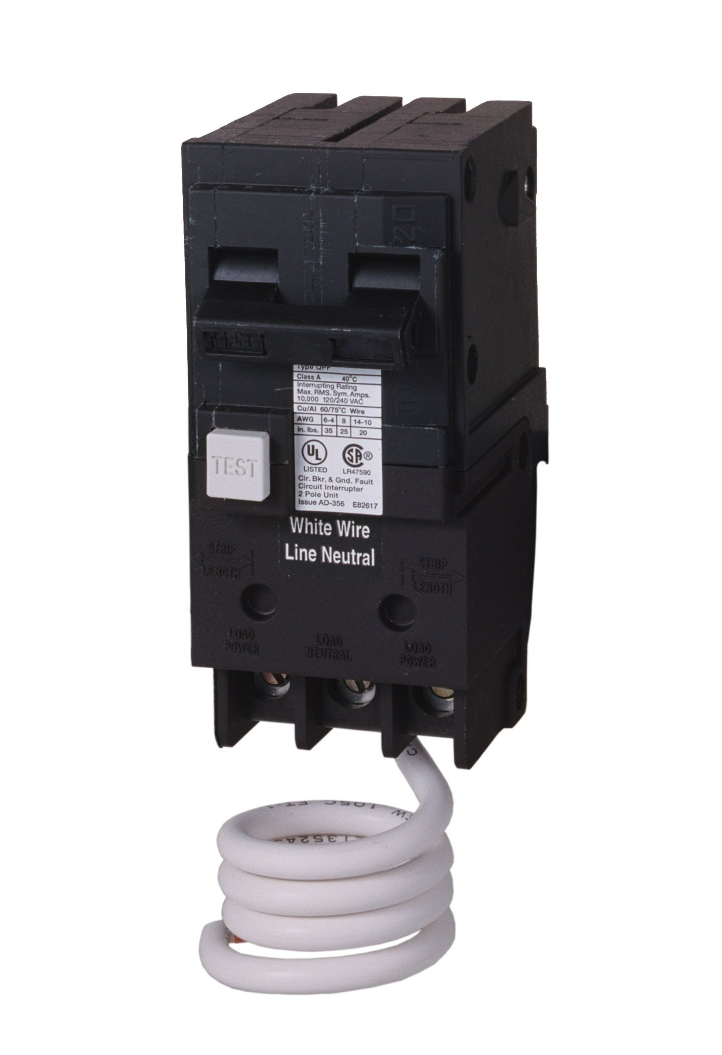QE220 20-Amp Double Pole 240-Volt Ground Fault Equipment Protection Circuit Breaker