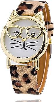 LSVTR Fashion Women's Platinum Plated Mini Cat Glasses Analog Quartz Watch, PU Leather Strap Gold Tone - Leopard
