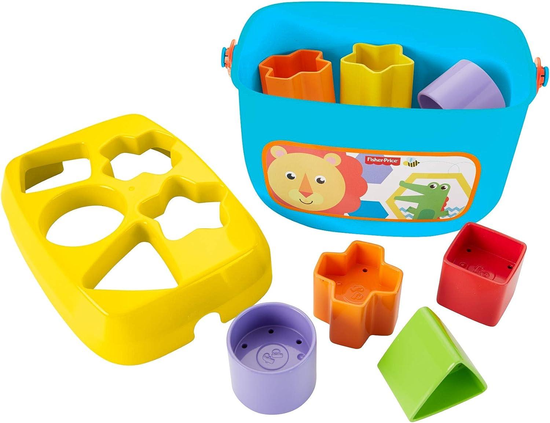 Babys Erste Bausteine Baby Spielzeug Formensortierspiel mit Spielw/ürfeln und Eimer zum Verstauen ab 6 Monaten Fisher-Price FFC84