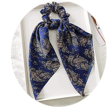 5e9c677f0 Floral Bow hair ribbon scrunchie Elastic Hair Ties Rope Scarf hair holder  Long fringe flower leaf