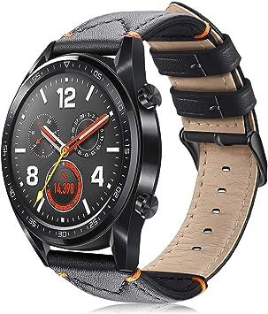 Fintie Correa Compatible con Samsung Galaxy Watch 3 (45mm)/Galaxy Watch 46mm/Gear S3 Classic/Gear S3 Frontier - Pulsera de Repuesto de Cuero Genuino con Cierre de Metal, Negro: Amazon.es: Deportes y aire libre