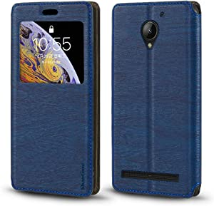 Lenovo C2 Case, Wood Grain Leather Case with Card Holder and Window, Magnetic Flip Cover for Lenovo Vibe C2
