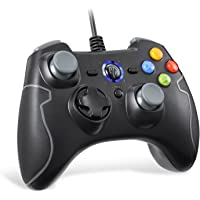 Wired Gaming Controller, EasySMX PC Game Controller Joystick with Dual-Vibration TURBO and TRIGGER Buttons for Windows/ Android/ PS3/ TV Box (Gray)