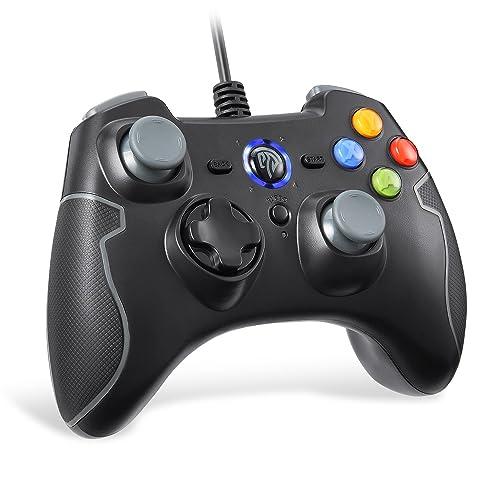 EasySMX Gamepad, Game Mando PC Joystick con los Botones de Doble-Vibración Turbo y Trigger, Gris