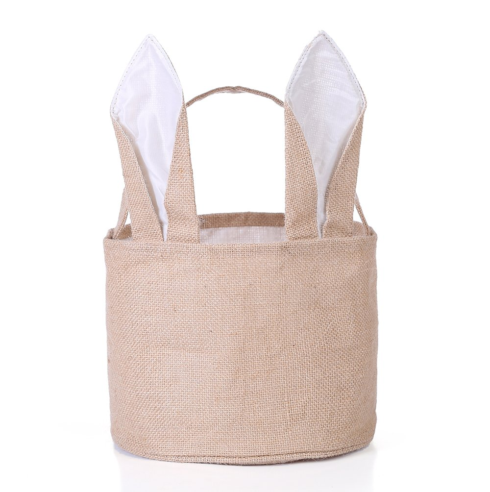 Easter Egg Basket for kids Bunny Burlap Bag to Carry Eggs Candy and Gifts (White)
