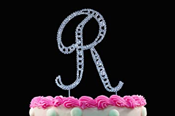 Monogram Cake Toppers Modern Vintage Crystal Topper Silver Letter By Yacanna Caketop R