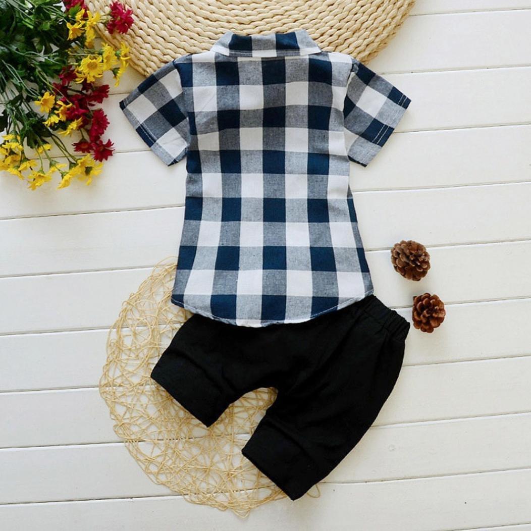 Conjuntos beb/é Ni/ño ❤️ Amlaiworld Camisas Camiseta infantil a cuadros de beb/é ni/ño Tops 3 A/ños pantalones cortos Conjunto de ropa trajes de Chico 6 Mes Azul, Tama/ño:2-3 A/ños