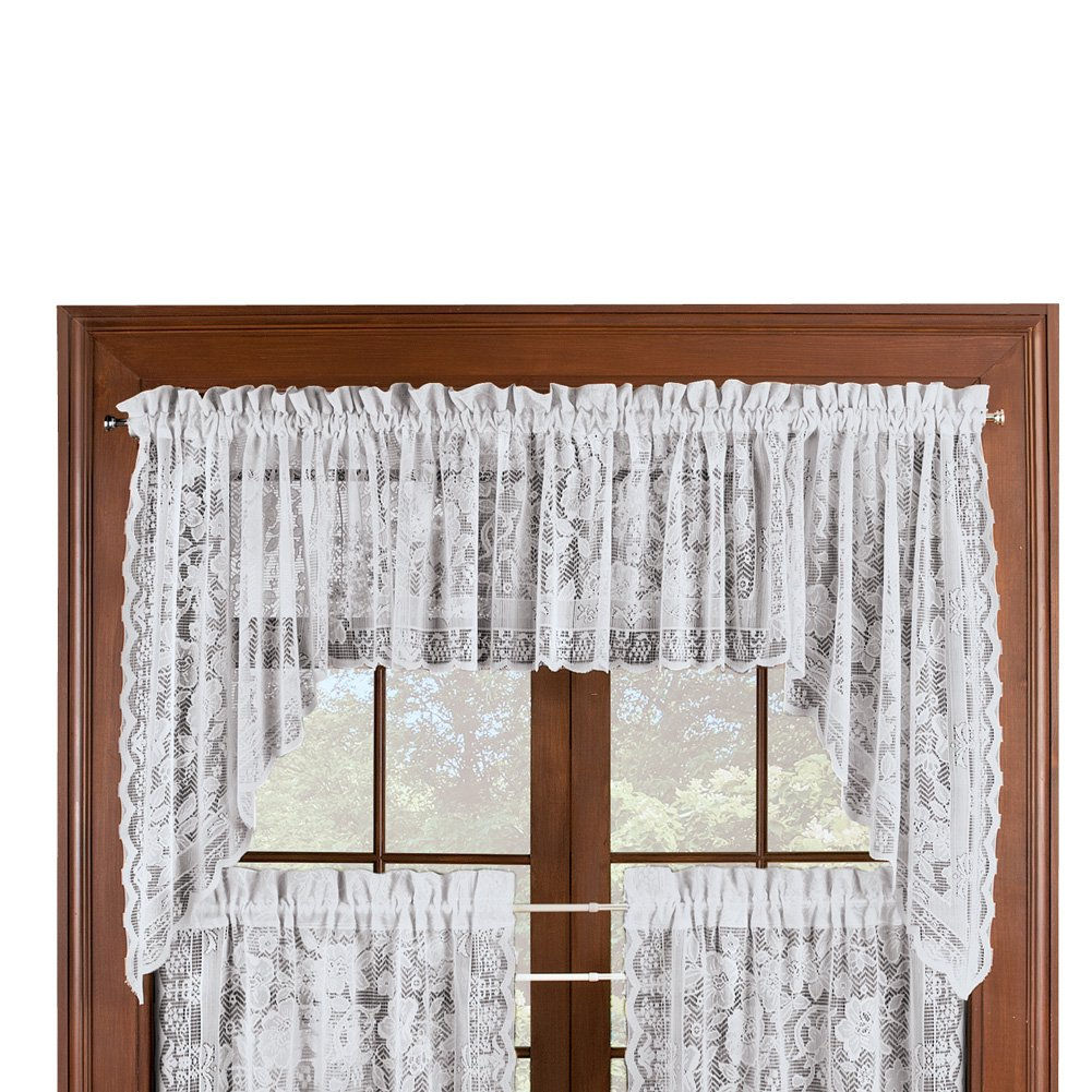 Collections Etc Floral Lace Cafe Curtain Window Swags Set of 2, Windsor - with Rod Pocket Top, Natural