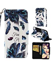 for Samsung Galaxy S8 Wallet Case with Card Holder and Screen Protector,QFFUN Elegant Design [Peacock Feather] Magnetic Stand Leather Phone Cases Drop Protection Etui Bumper Flip Cover with Lanyard