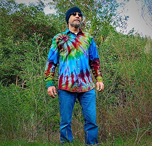 Rainbow Tie Dye Denim Shirt - S by Incense and Peppermints