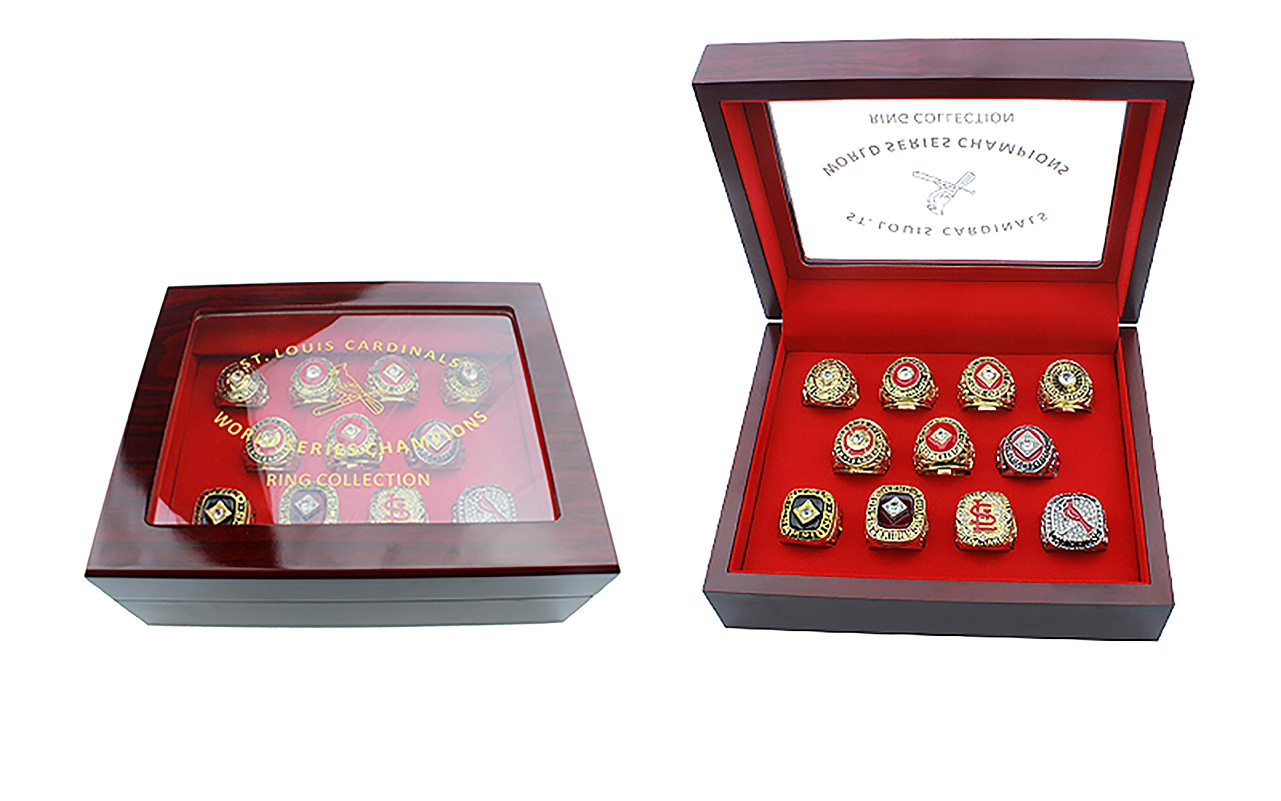 GF-sports store Set of 11 St. Louis Cardinals Championship Replica Ring by Display Box Set- Fashion Gorgeous Collectible Jewelry