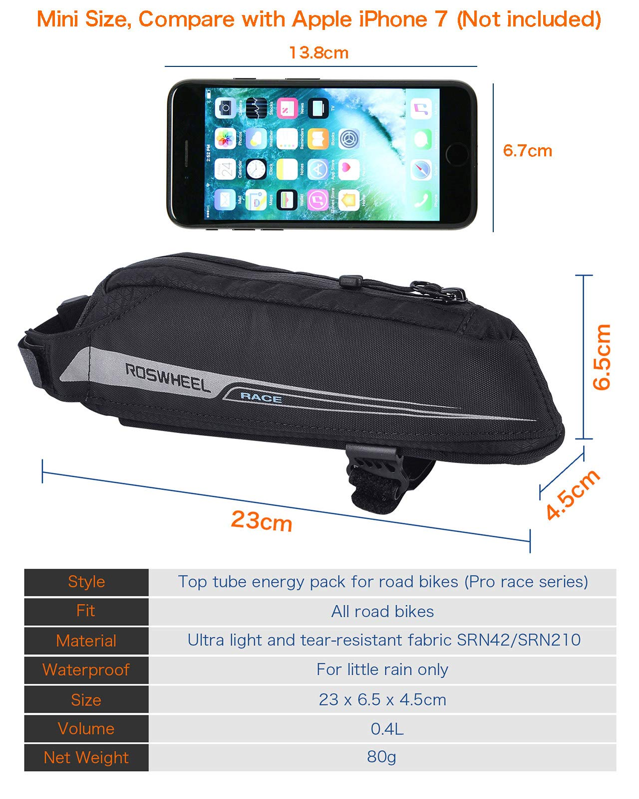 FlexDin Bicycle Frame Energy Bag, Road Racing/Touring / Triathlon Aerodynamic Bike Top Tube Cycling Fuel Bag Food Pouch Waterproof 420D 0.4L Black by FlexDin (Image #5)