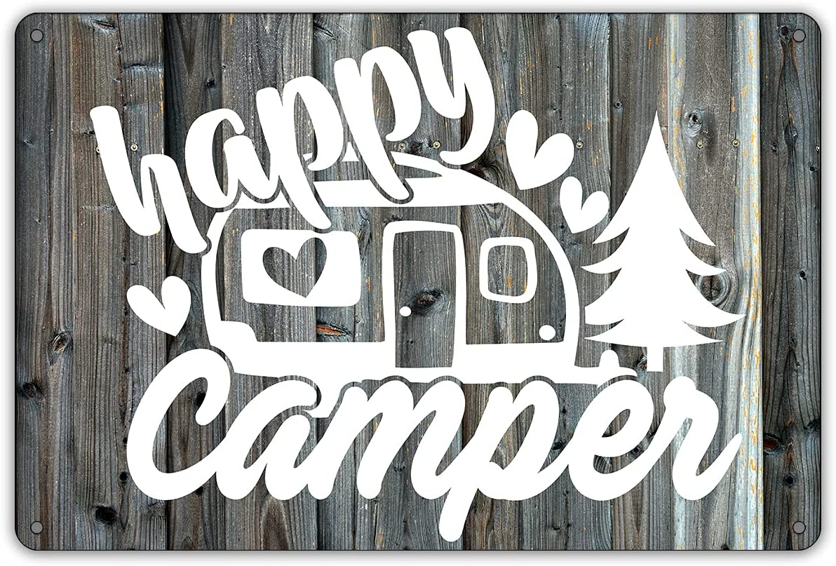 QIONGQI Funny Happy Camper Metal Tin Sign Wall Decor Farmhouse Rustic Camping Signs with Sayings for Home Garage Men Cave Yard Decor Gifts (Wooden Style)