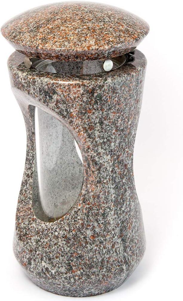 Afterglow Stilvolle Grablampe Classic aus echtem Granit Schwedisch Black Höhe 25 cm/Ø 12,5 cm cm Grableuchte Grablicht Grablampe Granitlampe Granitlaterne Bronze mit Sockel Grabschmuck Vanga