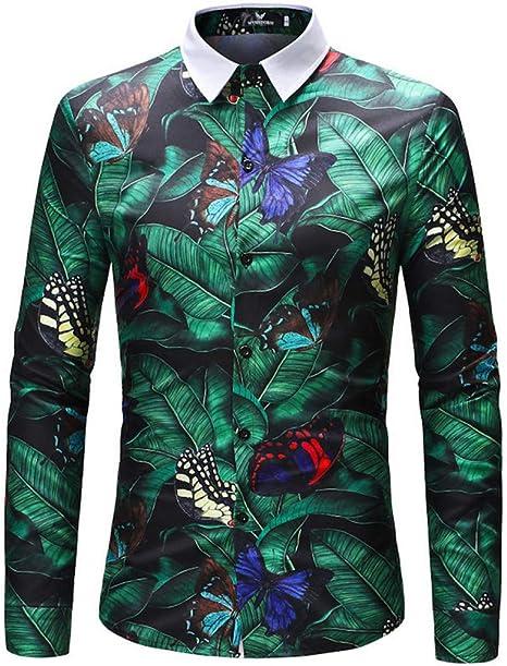 MDLJY Camisas 2019 Retro Floral Impreso Hombre Camisas Casuales Moda Clásica Camisa de Vestir para Hombres Manga Larga Transpirable para Hombres: Amazon.es: Deportes y aire libre