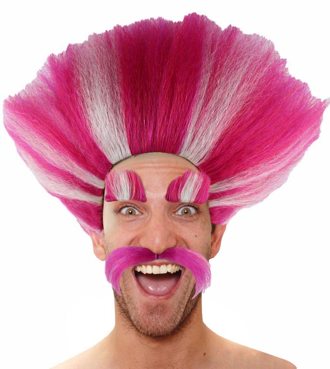 Pink Crazy Wig w/Wig Cap Cosplay Costume Party Halloween Hairpiece for Men Women