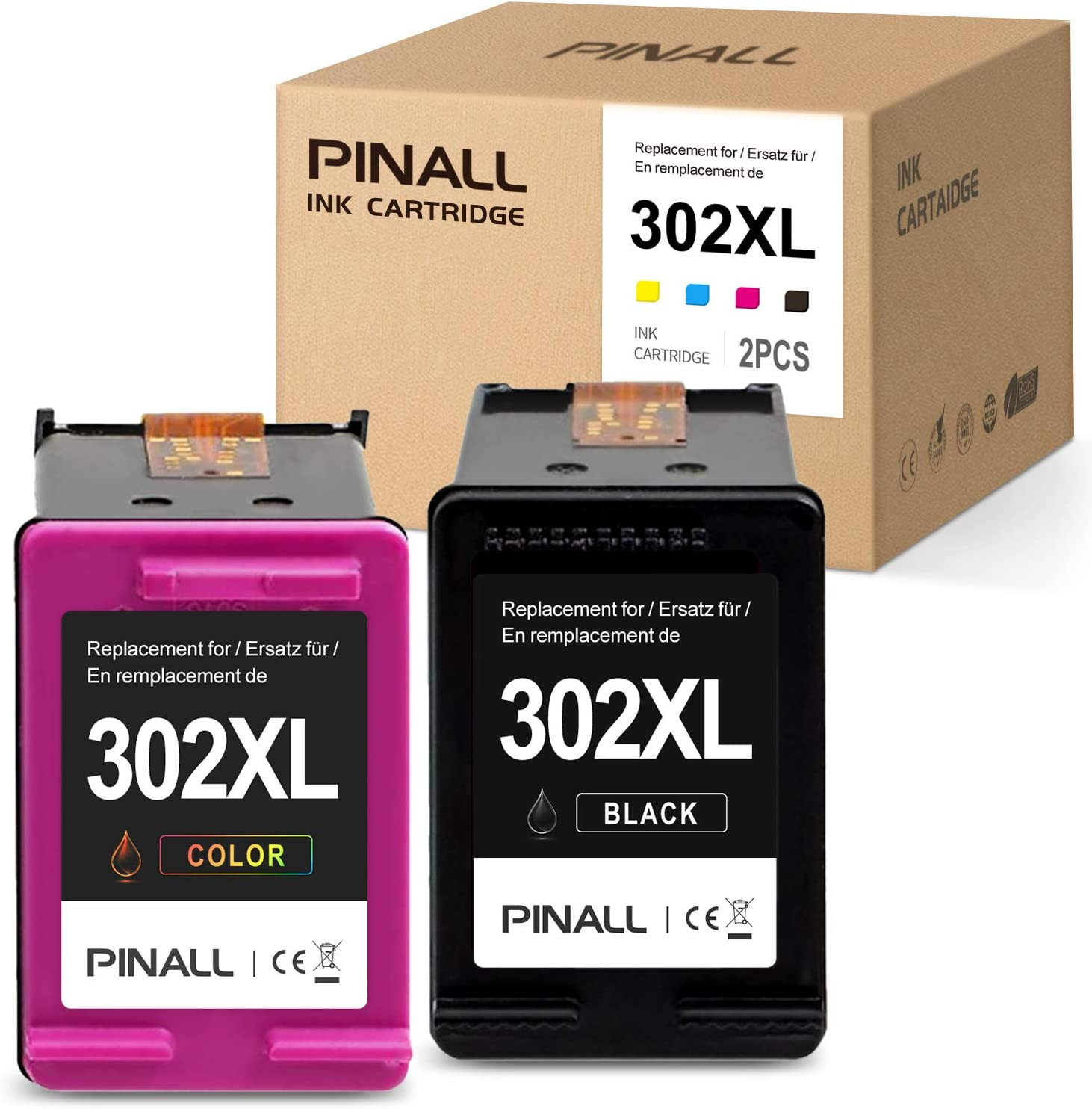 PINALL 2 Cartucho Compatible HP 302XL para HP DeskJet 3639 3630 OfficeJet 3831 3830 3833 OfficeJet 5230 5232 4655 4650Envy 4525 4500 4520 Impresora (1 Negro / 1 Color): Amazon.es: Electrónica