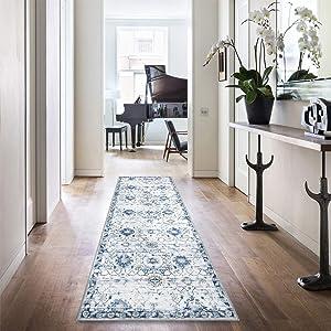 """jinchan Runner Rug Area Rug Doormat Vintage Floral Floorcover Indoor Mat for Kitchen Living Room Bedroom Navy 2'2"""" x 7'"""