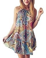 Eloise Isabel Fashion floral dress mulheres bela flor padrão halter neck mangas slip dress praia estilo