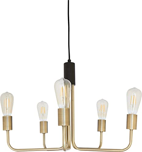 Rivet Mid-Century Modern Theory 5-Arm Ceiling Pendant Chandelier with Edison Light Bulbs, 14.5 H, Black and Brass Finish