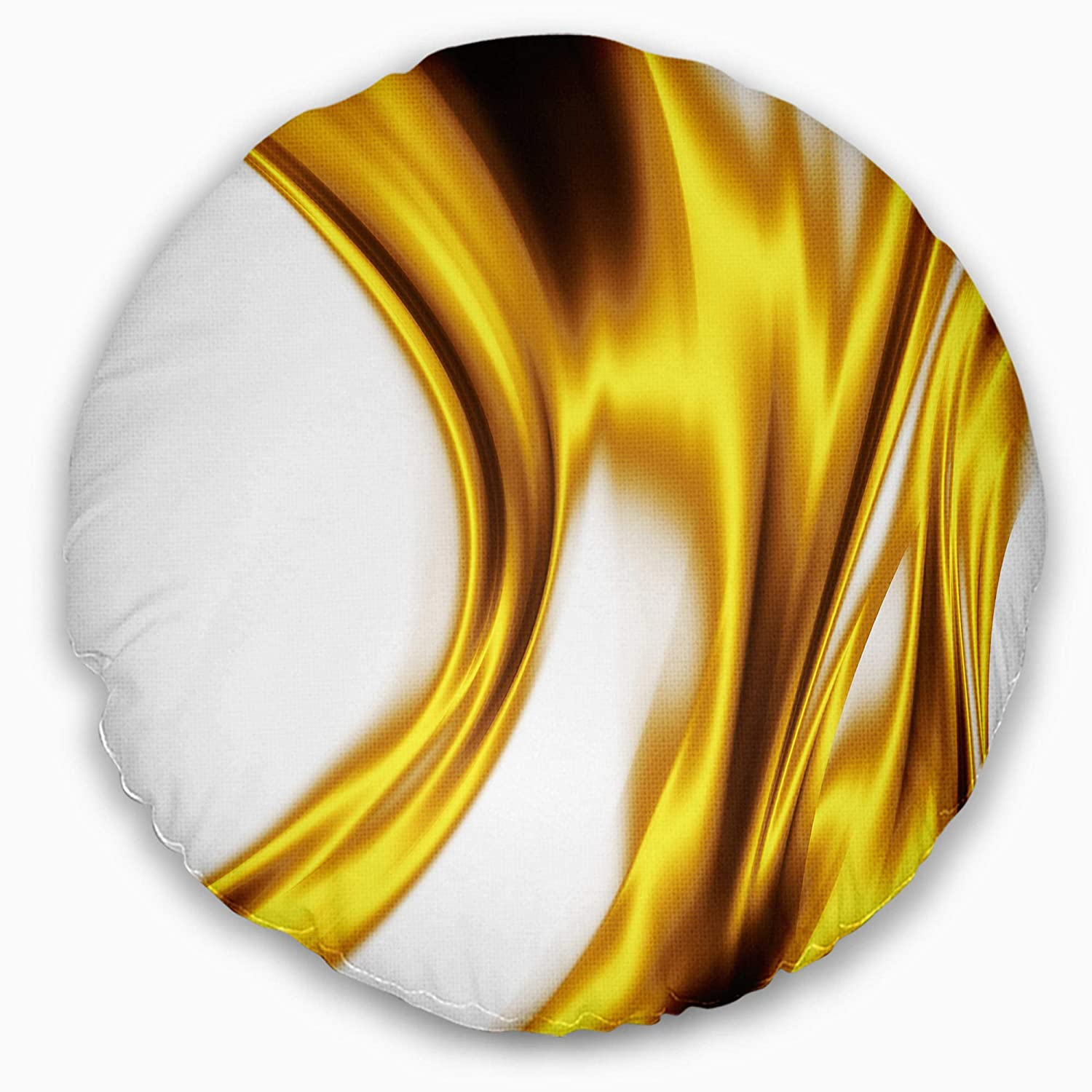 Designart CU8408-20-20-C Bright Gold Texture Pattern' Abstract Round Cushion Cover for Living Room, Sofa Throw Pillow 20'