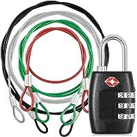Cerradura aprobada DanziX TSA y 4 colores, correa de seguridad de acero inoxidable, 3 combinación de cerradura de equipaje de viaje con cordón de seguridad para proteger sus diferentes tamaños de bolsas, maleta, equipaje