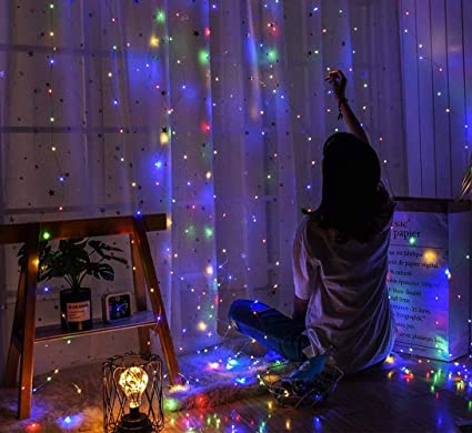 Christmas Light Curtains.Bjyhiyh Copper Curtain Lights 9 8ftx9 8ft 300 Led Fairy Light Curtains Remote Control 8 Modes Usb Powered Hanging Window Curtain Lights For Bedroom