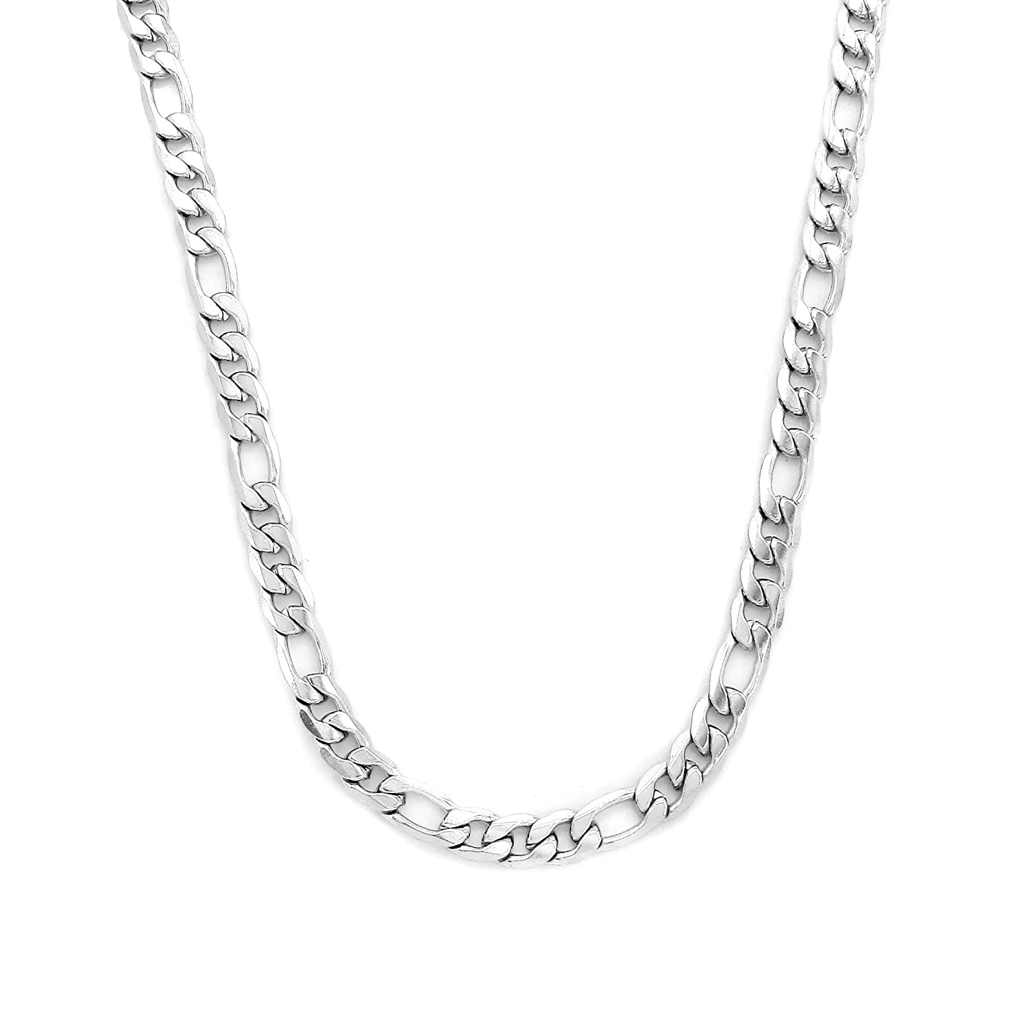 Pure 316 - Surgical Stainless Steel (316L) Figaro Link Necklace - 22 - 26 Inch Leviev Ltd. FIG7-SSN-22