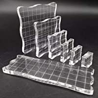 7 Pieces Acrylic Stamp Block, Acrylic Clear Stamping Blocks with Grid Lines, for Scrapbooking Crafts Making, DIY Design…