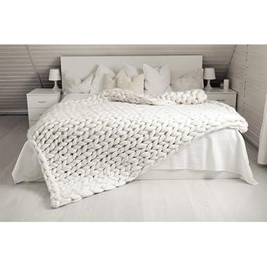 ACARPO Chunky Knit Blanket Handwoven Wool Yarn Knitting Throw Bed Sofa Super Warm Home Decor White 40 x47