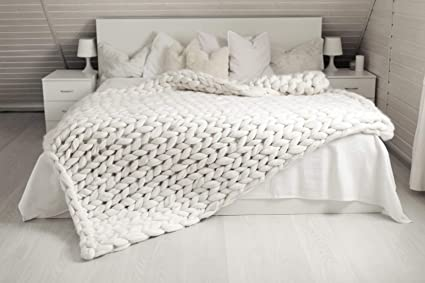 Amazon Incarpo Chunky Knit Blanket Handwoven Wool Yarn Knitting