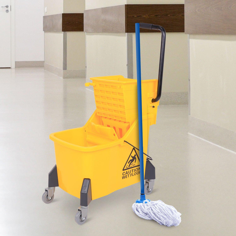 Generic DYHP-A10-CODE-4458-CLASS-8-- Yellow 44qt 11-Gallons ns Ye Rolling Mini Side ringer Press Mop e Pre Bucket Wringer g Mini --NV_1008004458-CXL-US10