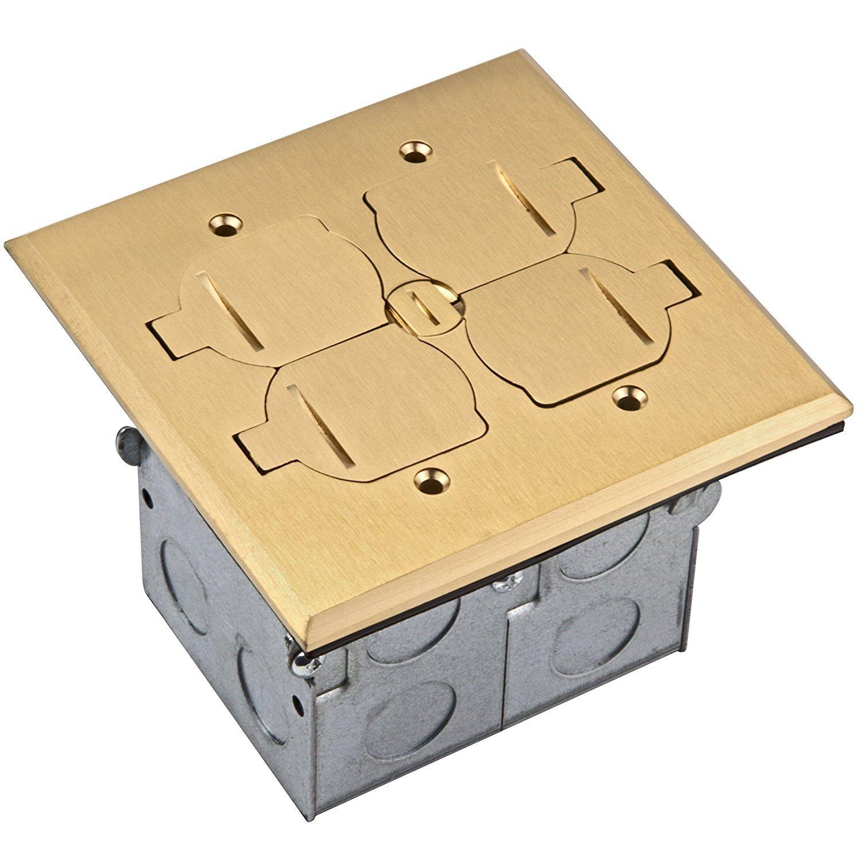 Enerlites 975549-D-C Brass Flip Lid Cover Floor Box Kit, 2 Gang 20A Tamper-Weather Resistant Duplex Receptacle, Datacom Ready Ports, UL Listed