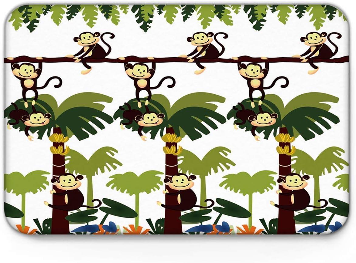 Realfits Non Slip Mat for Bathroom tub,Doormat Entrance Mats Home Decor,Cartoon Monkey on The Banana Trees Door Mat Rug,Fantastic Doormat for Indoor/Bathroom Bedroom Mats,20 x 31.5 inch