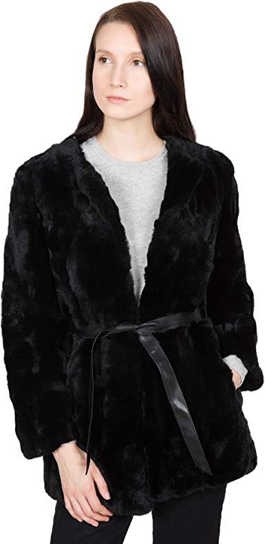 OBURLA Womens Real Rex Rabbit Fur Hooded Jacket
