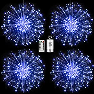 FOOING 4 Pack Firework Lights Led Copper Wire Starburst String Lights 8 Modes Battery Operated Fairy Lights with Remote,Wedding Christmas Decorative Hanging Lights for Party Patio Decor (Blue)