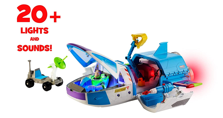 Toy Story- Disney Pixar Vaisseau Spatial Jouet pour Enfant Multicolore avec Figurine Buzz l/'/Éclair et projectiles 53 cm x 51 cm GJB37 lumi/ères et Sons