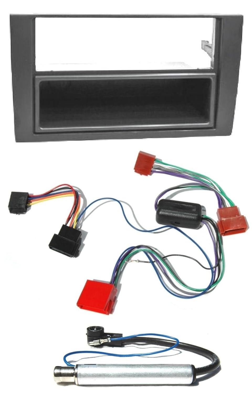 Audi #6148Set# A4 B6 (tipo 8E) Autoradio Kit di montaggio per include un orologio Radio Face piatto, Active sistema Adattatore, adattatore per Antenna Watermark