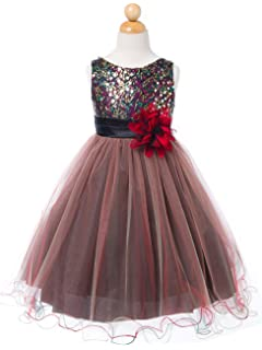 ebcb906bf4 Sparkly Sequin Tulle Flower Girls Christmas Holiday Party Dress Pageant  Wedding Prom