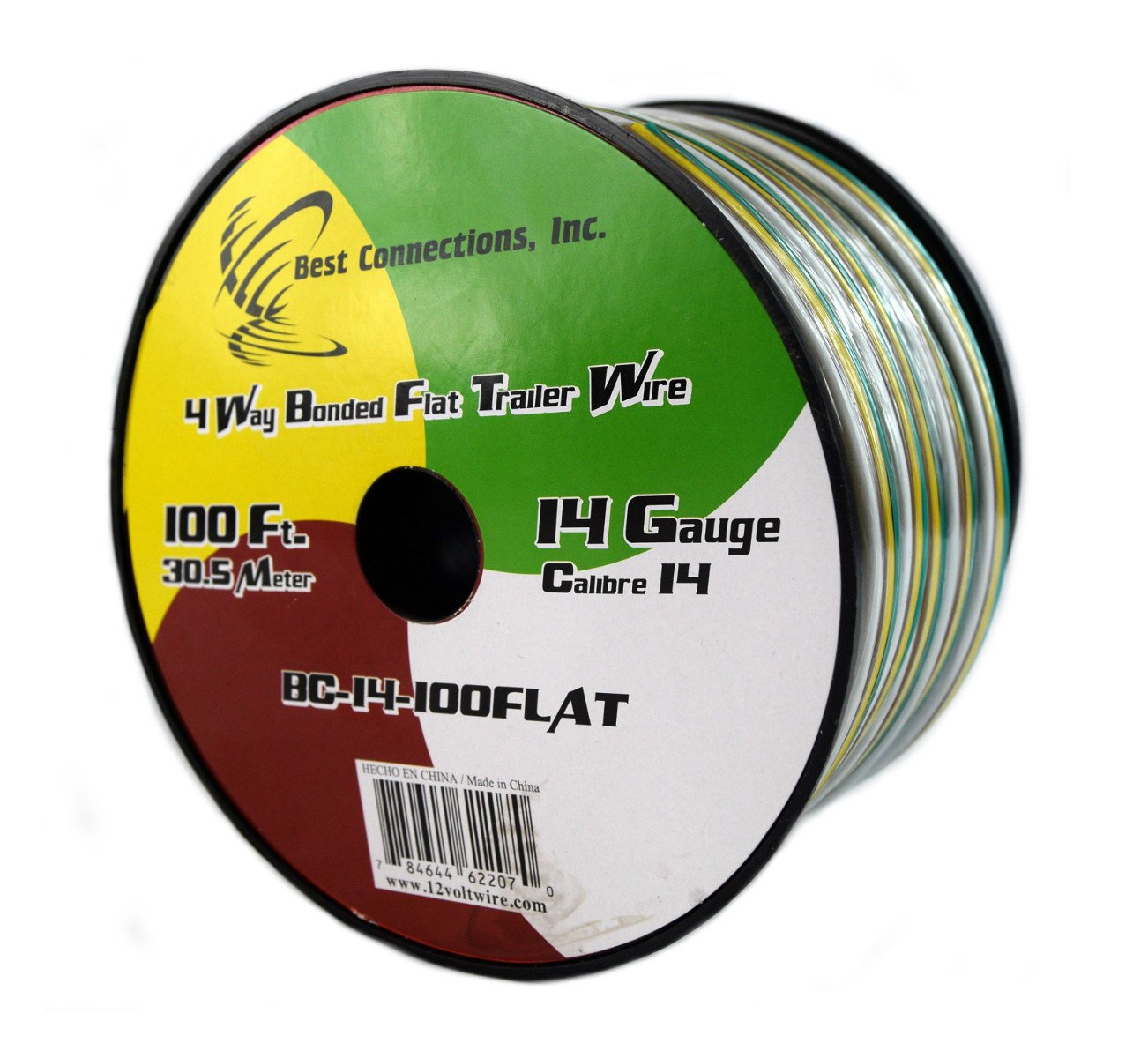 Amazon.com: Flat Trailer Light Cable Wiring Harness 100 Feet 14 AWG 4 Wire  CCA: Everything Else