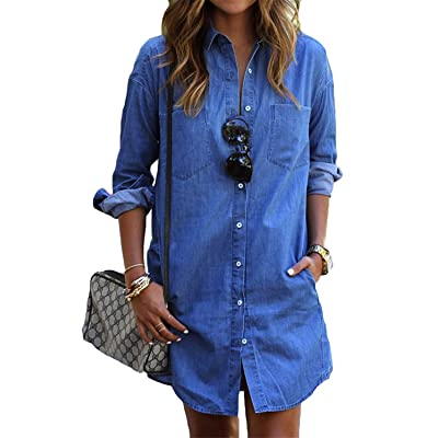 Farktop Women's Lapel Button Down Pocket Long Sleeve Long Tunic Tops Blouse Blue Denim Casual Dress Plus Size