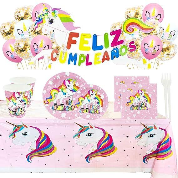 Kit de Artículos para Fiesta Cumpleaños Infantil Unicornio - Vajilla Desechable Rosa y Decoración - 110 Piezas Incluye ...