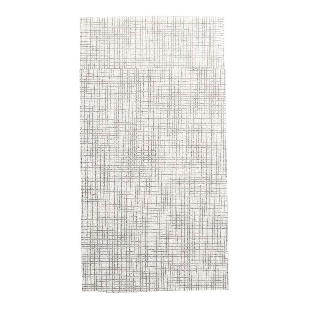 Luxenap Air Laid Kangaroo Dinner Napkins - White with Grey Threads - Soft and Durable 16'' x 16'' Paper Napkins with Built-in Flatware Pocket - Disposable and Recyclable – 480-CT – Restaurantware