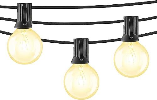 Mr Beams 5W G40 Bulb Incandescent Weatherproof Indoor Outdoor String Lights, 100 feet, Black