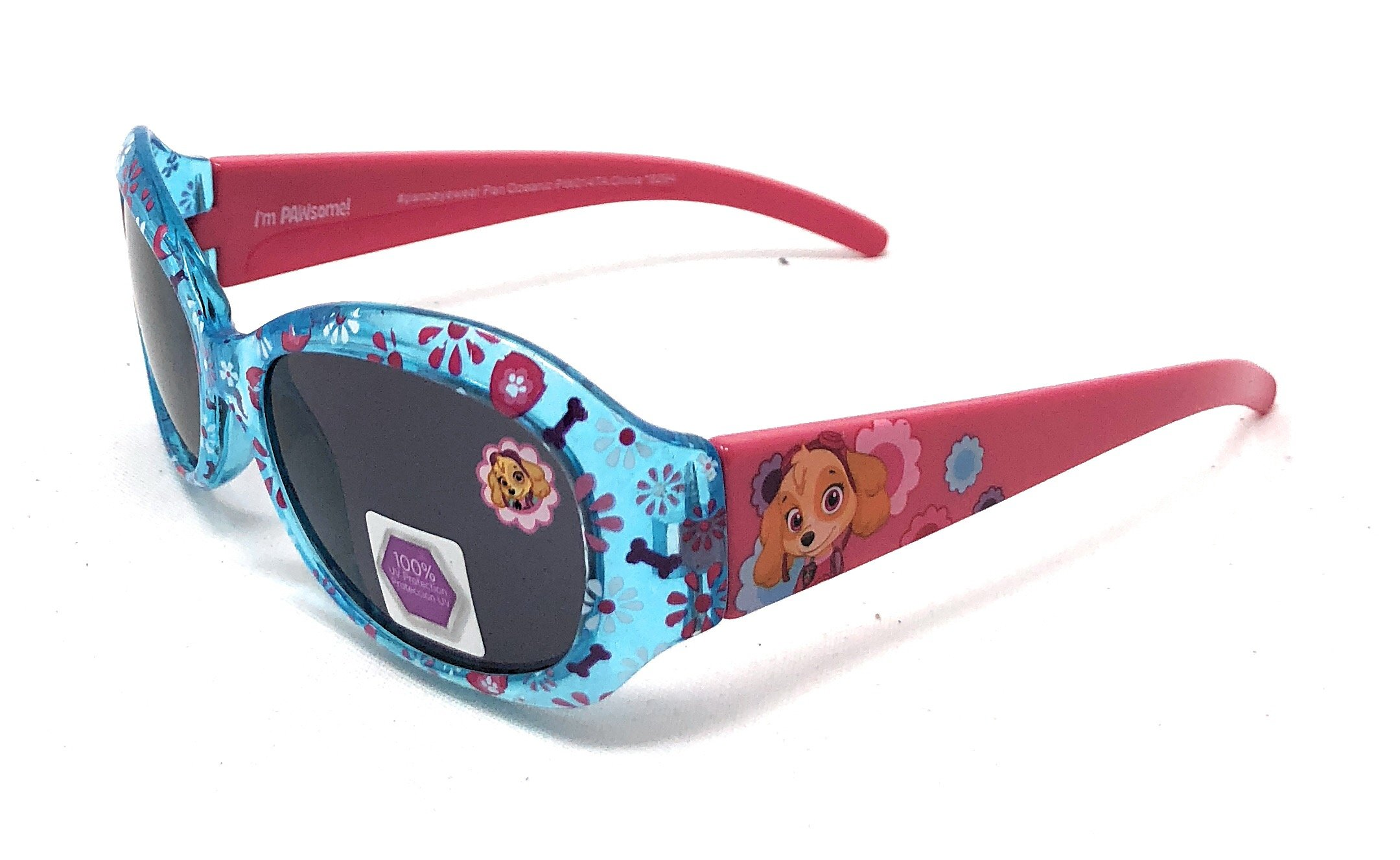 Nickelodeon Paw Patrol Skye Girl's Sunglasses in Turquoise and Pink - Clear Blue Design with Flowers