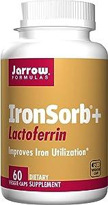 Jarrow Formulas Ironsorb + Lactoferrin, Iron Utilization Support, 60 Veggie Capsules