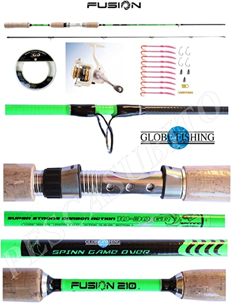Globefishing Kit Spinning Black Bass caña Fusion 2.10 m + Carrete + Hilo + Artificiales: Amazon.es: Deportes y aire libre